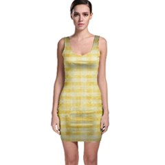 Spring Yellow Gingham Sleeveless Bodycon Dress by BangZart