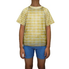 Spring Yellow Gingham Kids  Short Sleeve Swimwear by BangZart
