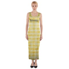 Spring Yellow Gingham Fitted Maxi Dress