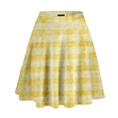 Spring Yellow Gingham High Waist Skirt by BangZart