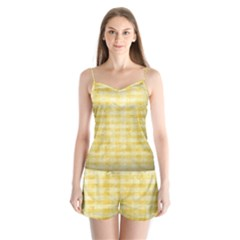 Spring Yellow Gingham Satin Pajamas Set