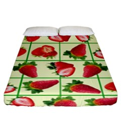 Strawberries Pattern Fitted Sheet (king Size) by SuperPatterns