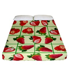 Strawberries Pattern Fitted Sheet (california King Size) by SuperPatterns