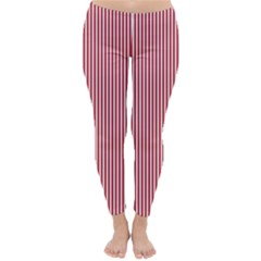 USA Flag Red and White Stripes Classic Winter Leggings by PodArtist