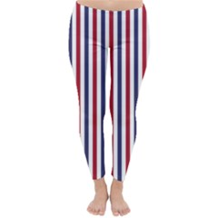 USA Flag Red White and Flag Blue Wide Stripes Classic Winter Leggings by PodArtist