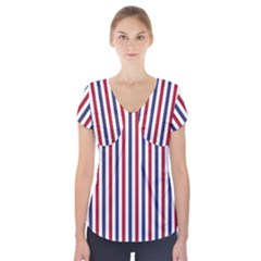 Usa Flag Red White And Flag Blue Wide Stripes Short Sleeve Front Detail Top by PodArtist