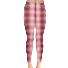 USA Flag Red and White Gingham Checked Leggings  by PodArtist