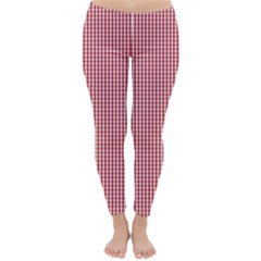 USA Flag Red and White Gingham Checked Classic Winter Leggings by PodArtist