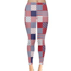 USA Americana Patchwork Red White & Blue Quilt Leggings  by PodArtist