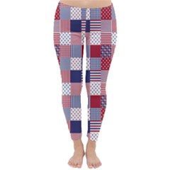 USA Americana Patchwork Red White & Blue Quilt Classic Winter Leggings by PodArtist