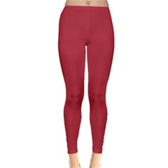 USA Flag Red Blood Red classic solid color  Leggings  by PodArtist