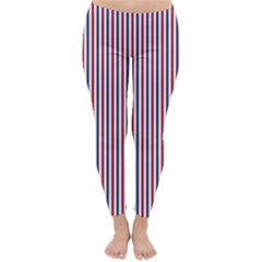 USA Flag Red and Flag Blue Narrow Thin Stripes  Classic Winter Leggings by PodArtist
