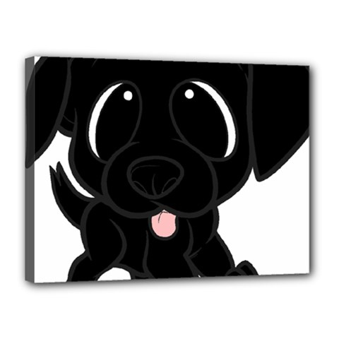 Newfie Cartoon Canvas 16  x 12  by TailWags