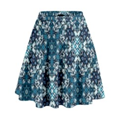Boho Blue Fancy Tile Pattern High Waist Skirt by KirstenStar