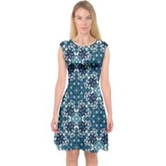 Boho Blue Fancy Tile Pattern Capsleeve Midi Dress by KirstenStar