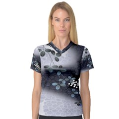 Abstract Black And Gray Tree Women s V Neck Sport Mesh Tee by BangZart