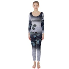 Abstract Black And Gray Tree Long Sleeve Catsuit by BangZart