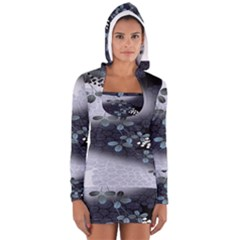 Abstract Black And Gray Tree Women s Long Sleeve Hooded T Shirt
