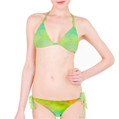 Abstract Yellow Green Oil Bikini Set by BangZart