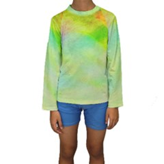 Abstract Yellow Green Oil Kids  Long Sleeve Swimwear by BangZart