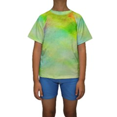 Abstract Yellow Green Oil Kids  Short Sleeve Swimwear