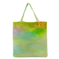 Abstract Yellow Green Oil Grocery Tote Bag