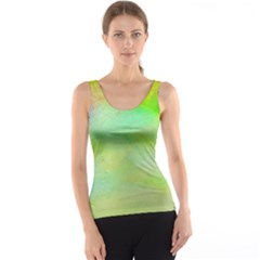 Abstract Yellow Green Oil Tank Top