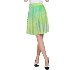 Abstract Yellow Green Oil A Line Skirt