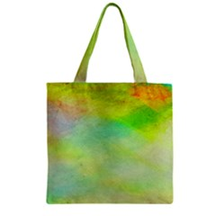 Abstract Yellow Green Oil Zipper Grocery Tote Bag by BangZart