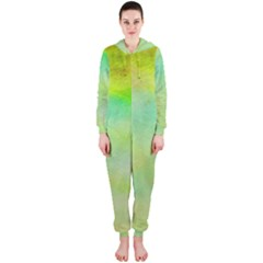Abstract Yellow Green Oil Hooded Jumpsuit (ladies)