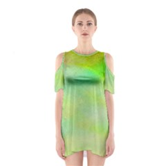 Abstract Yellow Green Oil Shoulder Cutout One Piece