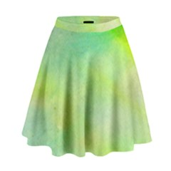 Abstract Yellow Green Oil High Waist Skirt by BangZart