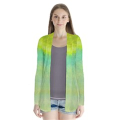 Abstract Yellow Green Oil Drape Collar Cardigan