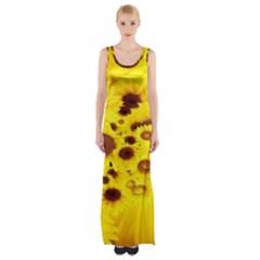 Beautiful Sunflowers Maxi Thigh Split Dress