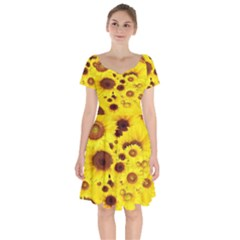 Beautiful Sunflowers Short Sleeve Bardot Dress