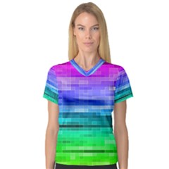 Pretty Color Women s V Neck Sport Mesh Tee by BangZart