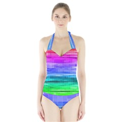 Pretty Color Halter Swimsuit