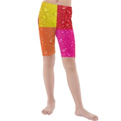 Color Abstract Drops Kids  Mid Length Swim Shorts by BangZart