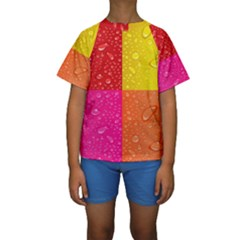 Color Abstract Drops Kids  Short Sleeve Swimwear by BangZart