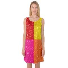 Color Abstract Drops Sleeveless Satin Nightdress