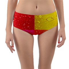 Color Abstract Drops Reversible Mid Waist Bikini Bottoms by BangZart