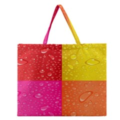 Color Abstract Drops Zipper Large Tote Bag by BangZart