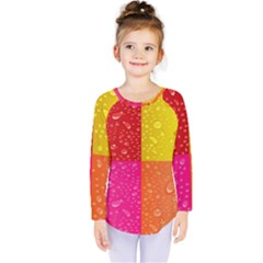 Color Abstract Drops Kids  Long Sleeve Tee