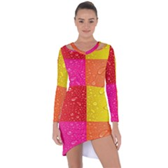 Color Abstract Drops Asymmetric Cut Out Shift Dress