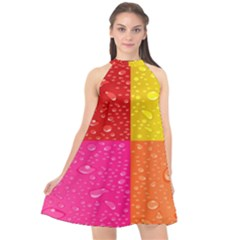 Color Abstract Drops Halter Neckline Chiffon Dress