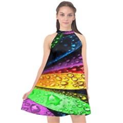 Abstract Flower Halter Neckline Chiffon Dress