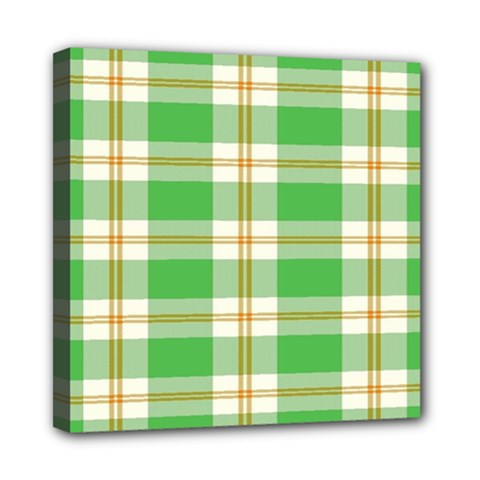 Abstract Green Plaid Mini Canvas 8  X 8