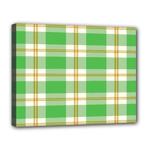 Abstract Green Plaid Canvas 14  X 11  by BangZart