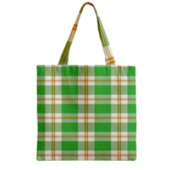 Abstract Green Plaid Zipper Grocery Tote Bag