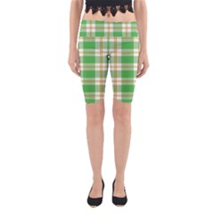 Abstract Green Plaid Yoga Cropped Leggings by BangZart